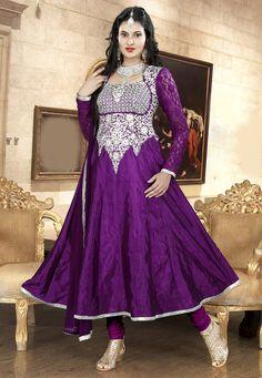 Purple Faux Crepe Silk Anarkali Churidar Kameez Online Shopping: KPM6