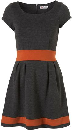 Topshop Pleat Skirted Dress By Wal G** in Gray (grey)