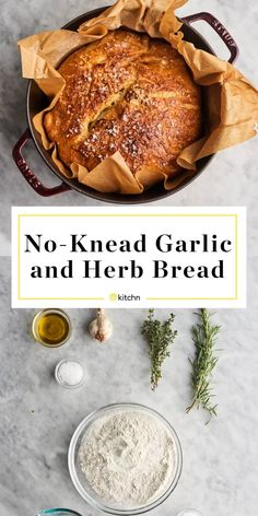 Jul 28, 2020 - This garlic and herb no-knead bread tastes far better than basic garlic bread — especially when you slather the still-warm slices with a little butter. Here's how to make a rustic loaf of garlic and herb bread without any kneading. Artisan Bread Recipes, Dutch Oven Recipes, Cooking Recipes, Knead Bread Recipe, No Knead Bread, Yeast Bread, Dutch Oven Bread, Comfort Food, Scones