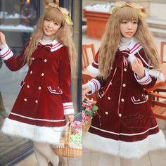 【田中的铺子】圣诞新年特惠毛毛平绒海军领lolita洋装大衣暗红色-淘宝网