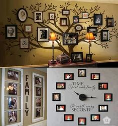 great wall decoration of family pictures! Photowall Ideas, Display Family Photos, Family Pics, Family Trees, Family Room, Display Pictures, Family Tree Wall Decor, Displaying Photos On Wall, Family Wall Art