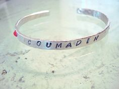 Personalized Cuff Bracelet - Coumadin - Personalized Jewelry - Custom - Silver - Silver Cuff - Aluminum - Hand Stamped - Swarovski Crystal #VHO