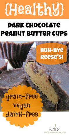 {Healthy} Dark Chocolate Peanut Butter Cups {Grain-Free, Vegan, Dairy-Free} YES. Gluten Free Sweets, Paleo Dessert, Dairy Free Recipes, Vegan Desserts, Healthy Desserts, Whole Food Recipes, Delicious Desserts, Dessert Recipes, Yummy Food