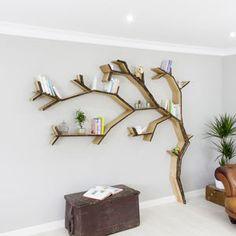 Windswept Oak Tree Bookcase Shelf - shelves & racks