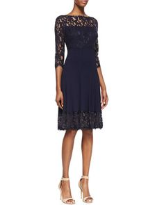 3/4-Sleeve Pleated Lace Cocktail Dress, Royal Navy by Tadashi Shoji at Neiman Marcus.