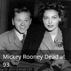 Latest News:  Mickey Rooney Dead at 93.  Mickey Rooney, the pint-size, precocious actor and all-around talent whose more than 80-year career spanned silent comedies, Shakespeare, Judy Garland musicals, Andy Hardy stardom, television, and the Broadway theater, has died at the age of 93.  Get all the latest news on your favorite celebs at www.CelebrityDazzle.com.