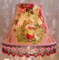 Victorian Lamp Shade Shabby Pink Rose French Toile Chic❤❤❤