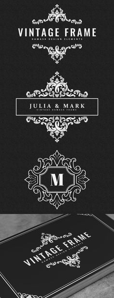 Collection of 10 vintage logo & monogram templates. Perfect for wedding invitations / cards, save-the-date, logo design, page decoration, etc. Vintage Logo, Vintage Graphic Design, Vintage Monogram, Vintage Frames, Vintage Designs, Retro Design, Monogram Logo, Monogram Template, Logo Templates