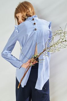 FRS Back Slit Embroided Stripe Shirt - FrontRowShop