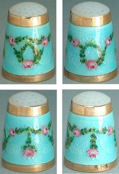 Beautiful Guilloche Rose Thimble...Circa Early 1900s