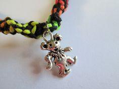 Handmade Black and Rainbow Hemp Twist Necklace with Grateful Dead Dancing Bear Charm- Dancing Bear Necklace- Trippy Hemp Necklace by EssentiallyErin on Etsy