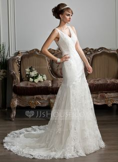 Trumpet/Mermaid V-neck Chapel Train Satin Tulle Wedding Dress With Ruffle Lace (002012719)