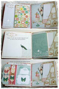 Webster's pages mini album using Postcards from Paris II More pics n info at http://wwwsuzies.blogspot.co.uk/p/mini.html #mini album #flowers #mixed media #flowers #butterflys #memories