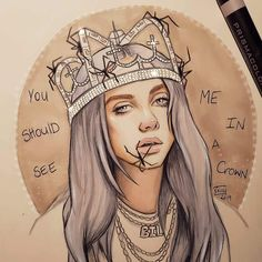Still practicing with markers Drew Billie Eilish. Still practicing with markers Drew Billie Eilish. Still practicing with markers couples drawings houses style weddings Pencil Art Drawings, Art Drawings Sketches, Cute Drawings, Horse Drawings, Billie Eilish, Crown Drawing, Celebrity Drawings, Fan Art, Will Turner
