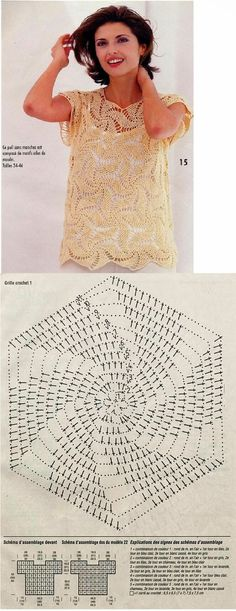 learn to crochet. crochet top with spirally motifs - perfect for spring and summer! Débardeurs Au Crochet, Crochet Bolero, Gilet Crochet, Mode Crochet, Crochet Motifs, Crochet Shirt, Crochet Diagram, Crochet Stitches Patterns, Crochet Woman