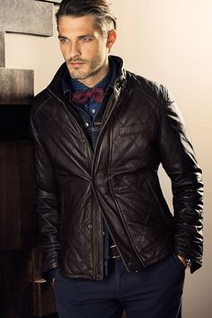 Ben Hill for Massimo Dutti October 2013 Gentleman Mode, Dapper Gentleman, Dapper Men, Gentleman Style, Men's Leather Jacket, Leather Men, Leather Jackets, Jacket Men, Quilted Leather