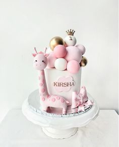 Aim high, stand tall & get spotted. Pink giraffe for Kirsha's first birthday. 1st Birthday Cake For Girls, Cute Birthday Cakes, Beautiful Birthday Cakes, Beautiful Cakes, Cake For Baby Girl, Pink Giraffe, Girl Cakes, Cute Cakes, Themed Cakes