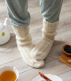 How To Make Red Heart Hygge Relaxation Socks - How To Hygge - Ideas of How To Hygge - How To Make Red Heart Hygge Relaxation Socks Crochet Socks, Knitting Socks, Knit Socks, Knitting Stitches, Knitting Patterns Free Dog, Knitting Ideas, How To Make Red, Lace Patterns, Red Heart Patterns
