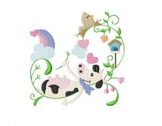 Whimsy Cow No. 2 Machine Embroidery Design in 3 by TedandFriends
