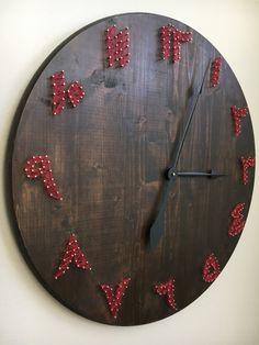 CUSTOM Rustic Arabic Wooden Clock Islamic String Art by FajrDecor