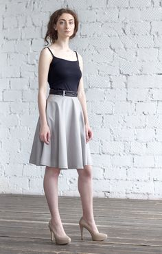 Elegant in Grey Skirt / Summer High Waist  by ExlibrisClothing