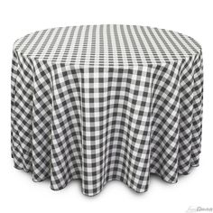 108 in. Round Polyester Tablecloth Black & White Checker At LinenTablecloth