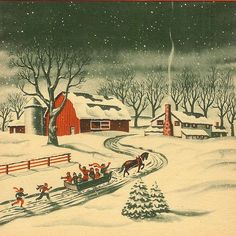 Christmas farm. Just make this real life instead of a picture and it's my ideal Christmas . . .