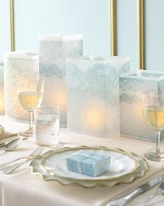Lace Luminaria's - another cheap option printed lace on translucent paper