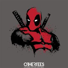 """""""Merc in Red"""" by Dr.Monekers T-shirts, Tank Tops, Sweatshirts and Hoodies on sale until 2nd October at www.OtherTees.com Pin it for a chance at a FREE TEE! #deadpool"""