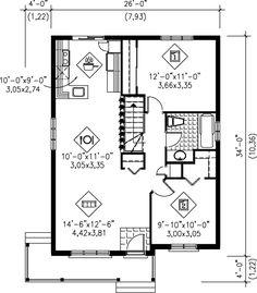 Cottage Style House Plan - 2 Beds 1.00 Baths 874 Sq/Ft Plan #25-158 Floor Plan - Main Floor Plan