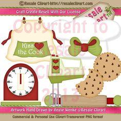 Christmas Kitchen Set 1 Clipart Digital Zip Download by MaddieZee