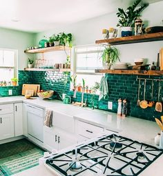 """23.6k Likes, 233 Comments - The Jungalow™ (@thejungalow) on Instagram: """"It's so fun to see so many kitchens popping up that were inspired by our crazy green kitchen! If…"""""""