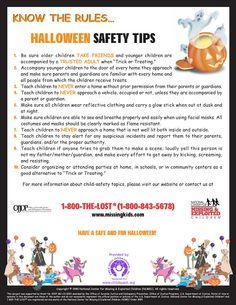 Halloween Safety Tips by Missingkids.com