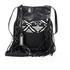 Urban Originals Aztec Drift Fringed Canvas & Faux Leather Bucket Bag
