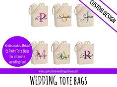 Bridesmaid gift, bridesmaid tote bags, tote bags for bridesmaids, custom tote bag, gift bags, bride gift http://tidd.ly/1791a11b