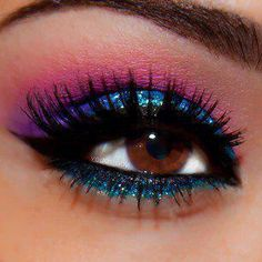 Pink purple turquoise party eye makeup