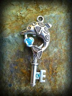 Aqua Dolphin Fantasy Key by ArtbyStarlaMoore on Etsy, $15.00