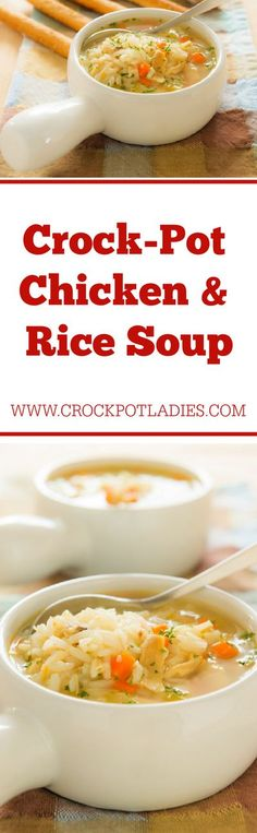 Crock-Pot Chicken & Rice Soup - This recipe for Crock-Pot Chicken & Rice Soup is a warm meal that will hit the spot for those cold fall or winter days! [Gluten Free, Low Calorie, Low Carb, Low Fat, Low Sugar & 3 Weight Watchers SmartPoints (Blue & Purple Plans) Or 4 SmartPoints (Green Plan)] #CrockPotLadies #CrockPot #SlowCooker #Soup #ChickenRecipes #ComfortFood #KidFriendly
