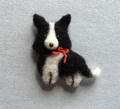 Black-and-white Border Collie, Needle Felted Dog by Marina Lubomirsky by GoldenThreadDesign on Etsy