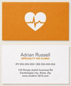 Modern medical doctor business cards featuring a white heart shape with a normal ECG wave on a yellow orange background. Stylish and contemporary physician business card for cardiologists, cardiac surgeons and anyone working with the human heart. Could also be used by a personal trainer or anyone working with fitness.