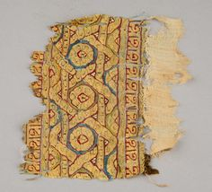 Textile fragment with interlace design 11th–12th centuries, Egypt Linen and silk Kelsey Museum of Archaeology, 91614