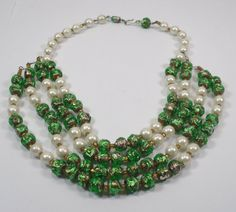 Multi Strand Old Bohemian Green Silver Foil Glass by SLCDesignsUK, $75.00