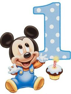 Baby Mickey Birthday Clipart - Clipart Suggest Baby Mickey Mouse, Festa Mickey Baby, Fiesta Mickey Mouse, Theme Mickey, Mickey Mouse 1st Birthday, Happy Birthday Signs, First Birthday Party Decorations, Birthday Thank You Cards, Mickey Party