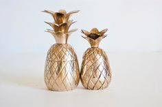 Vintage Mid Century PAIR of Mini Brass Pineapple by TheWildWorld