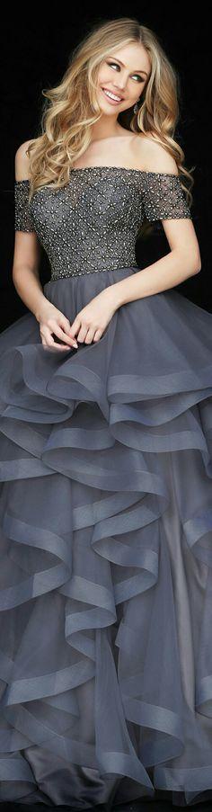 SHERRI HILLIn Gunmetal Grey w. Multiple Chiffon Ruffles on Skirt & Beaded Off-Shoulder Top 1/6 Length Sleeves #51271
