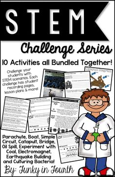 This bundle contains 10 STEM Challenges. Students will design, build, test, evaluate and investigate in a variety of different challenges. These challenges were designed to help achieve higher order thinking while problem solving. Each challenge is complete with student recording pages, tips for completing, a lesson plan and more!