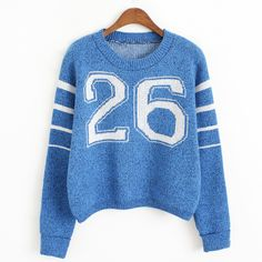 Blue Letter 26 Striped Sleeve Crop Jumper 15JP00142-4 ($15) ❤ liked on Polyvore featuring tops, sweaters, blue, pattern sweater, striped crop top, striped sweater, blue striped sweater and print sweater