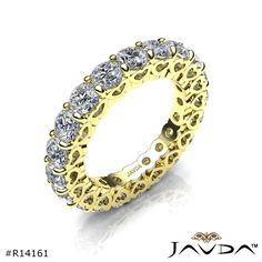 Prong Set Diamond Heart Eternity Wedding Ring 14k Yellow Gold Women's Band 3Ct.