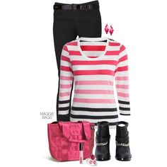 """""""Outfit of the Day: Pink Stripe"""" by maggiebags on Polyvore"""