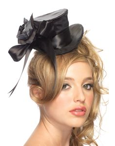 9e269b17e28 Women s Leg Avenue Satin Top Hat With Flower Black at Inked Boutique. Satin  top hat with flower and bow accent.